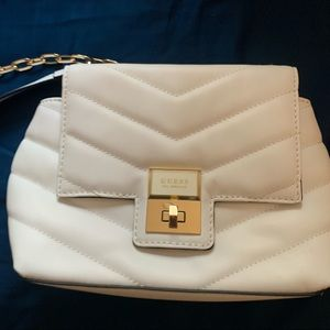 Guess Cream Quilted Crossbody Bag